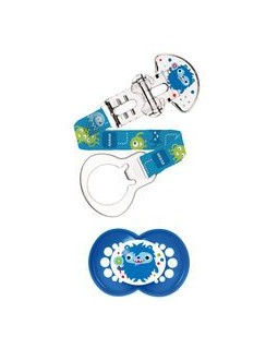 Dodie Anatomical Pacifier + Pacifier Clip Blue